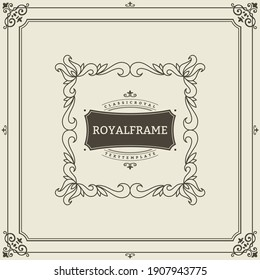 Invitation frame. Vintage ornament greeting card template. Retro wedding invitations, advertising or other design and place for text. Flourishes frame