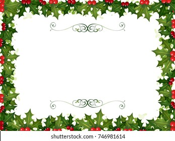 A Christmas Invitation made from holly borders and swirl ornaments in a horizontal orientation.