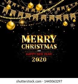 Invitation merry christmas party and happy new year 2020 poster banner and card design template. Happy holiday and new year glass ball theme concept. Raster copy