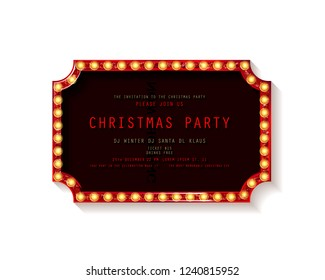 Invitation merry christmas party poster. on white background. Raster copy