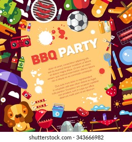 Invitation template of flat design barbecue and summer picnic icons and infographics elements