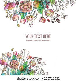 Invitation or wedding card  with flowers background.