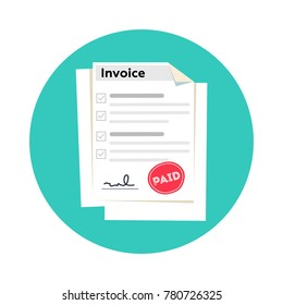 Invoice flat icon, Payment and bill invoice. Order symbol concept or Tax sign design. Paper invoice document. illustration in flat style.