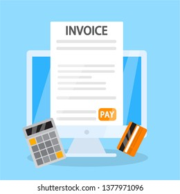 Invoice online concept. Signing financial document containing bill. Payment terms. Flat  illustration