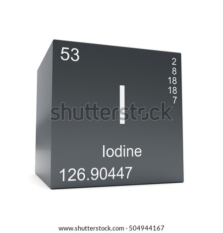 Iodine Chemical Element Symbol Periodic Table Stock Illustration