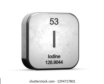 Iodine element from the periodic table series. Metallic icon set 3D rendered on white background