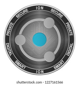 ION coin isolated on white background; ion cryptocurrency