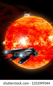 An ion drive powered exploration space ship approaches a violent, new red star. Surface eruptions cause coralla mass ejections to blow off into outer space in a book cover format