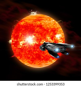 An ion drive powered exploration space ship approaches a violent, new red star. Surface eruptions cause coralla mass ejections to blow off into outer space.