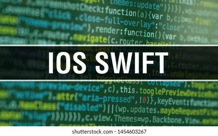 iOS SWIFT with Abstract Technology Binary code Background.Digital binary data and Secure Data Concept. Software