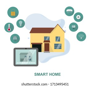 IOT concept. Creative illustration of smart home technology system with centralized control