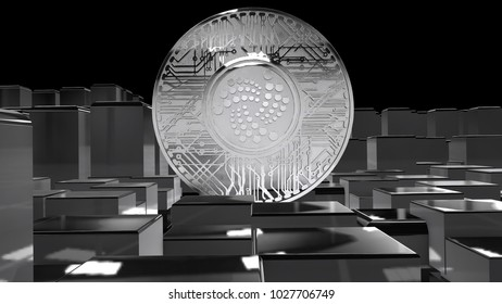 IOTA coin (MIOTA) or IOT cryptocurrency altcoin 3D Render. IOTA uses a revolutionary new blockless distributed ledger called the tangle.