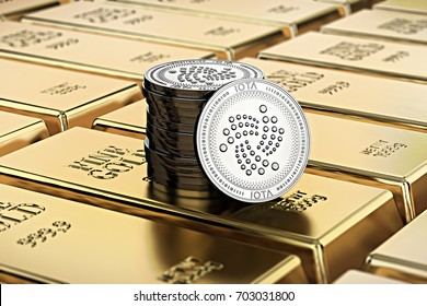IOTA coins laying on stacked gold bars (gold ingots) rendered with shallow depth of field. Concept of highly desirable cryptocurrency. 3D rendering