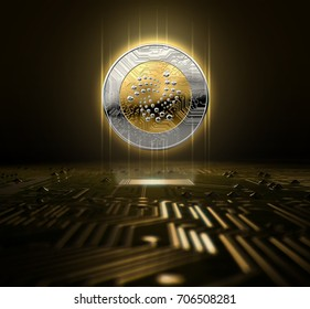 A iota cryptocurrency hologram in gold and silver physical coin form hovering over a computer circuit board- 3D render