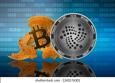 IOTA (MIOTA) coin stands in front of cracked coin bitcoin on binary code background; iota leader; bitcoin collapse