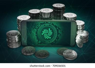 IOTA symbol on-screen among piles of IOTA coins. 3D rendering
