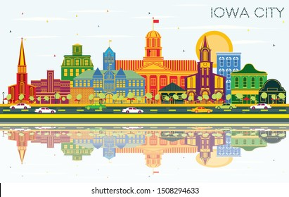 Iowa City Skyline with Color Buildings, Blue Sky and Reflections. Business Travel and Tourism Illustration with Historic Architecture. Iowa City Cityscape with Landmarks.