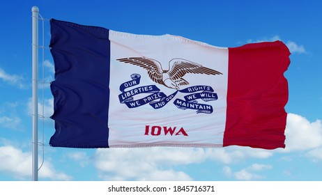 Iowa flag on a flagpole waving in the wind, blue sky background. 3d rendering.