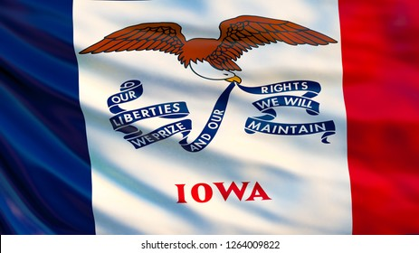 Iowa flag. Waving flag of Iowa state, United States of America. 3d illustration