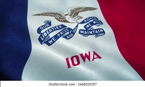 Iowa flag waving in the wind. National flag of Iowa. Sign of Iowa. 3d rendering.