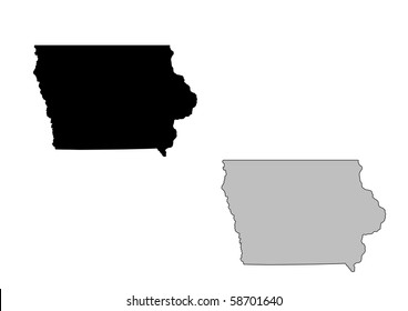 Iowa map. Black and white. Mercator projection.