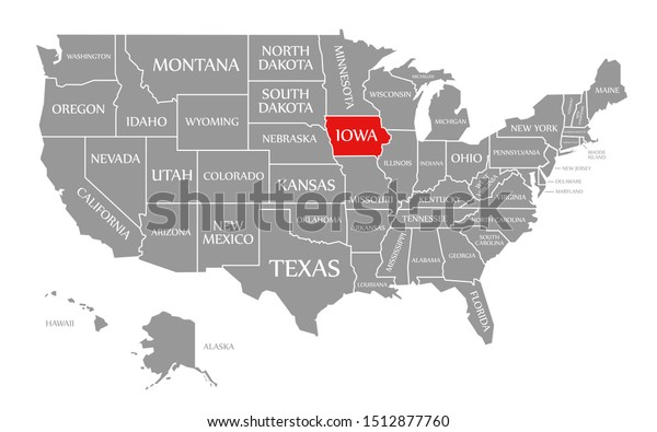 iowa in us map Iowa Red Highlighted Map United States Stock Illustration 1512877760 iowa in us map