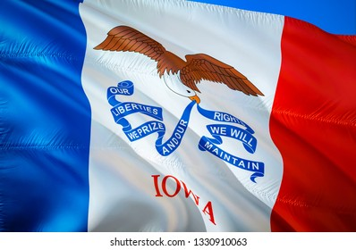 Iowa state flag. 3D Waving American United States flag design. Symbol of Iowa and Des Moines, 3D rendering. Iowa Waving state flag concept.Waving US American state flags background