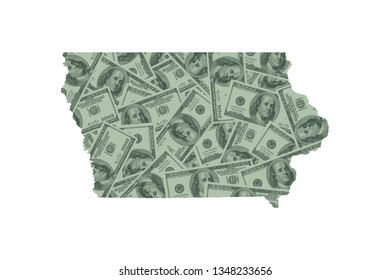Iowa State Map and Money Concept, Hundred Dollar Bills