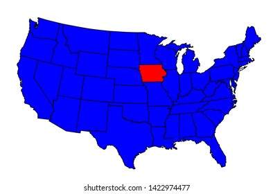 Iowa state outline silhouette inset set into a map of The United States of America
