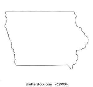 Iowa (USA) outline map with shadow. Detailed, Mercator projection.