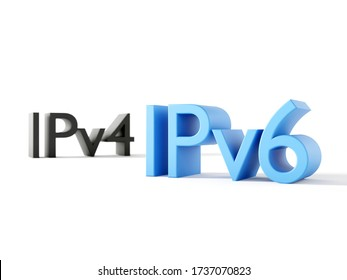 IP address type symbols IPv4 and IPv6 - Internet Protocol version 6 and old version 4 3D render with focus depth of field