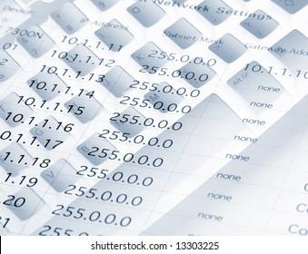 IP network settings overlaid onto computer keyboard