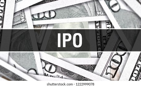 IPO Closeup Concept. American Dollars Cash Money,3D rendering. IPO at Dollar Banknote. Financial USA money banknote Commercial money investment profit concept