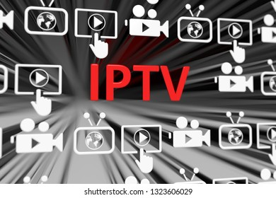 IPTV concept blurred background 3d render illustration