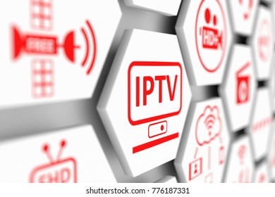 IPTV concept cell blurred background 3d illustration