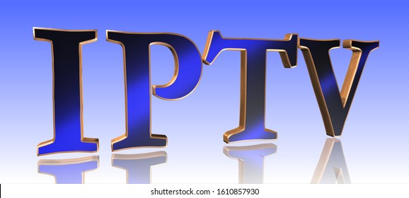IPTV - Internet Protocol Television - Metal Word in Blue Background - Concept Keyword Illustration