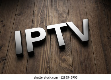 IPTV, or Internet Protocol Television, sign in text highlighted on wooden boards at a tilted angle. 3d Rendering