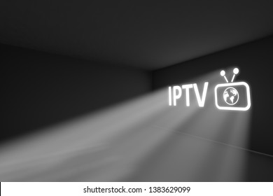 IPTV rays volume light concept 3d illustration