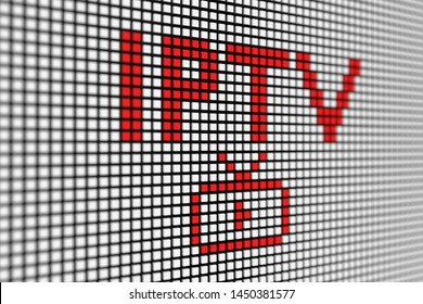IPTV text scoreboard blurred background 3d illustration