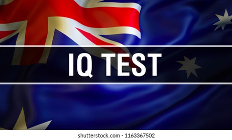 IQ Test on Australia flag. intelligence quotient (IQ) logic game human intelligence. 3D rendering Competition test concept. Finding solution and answers exam. Thinking and training development