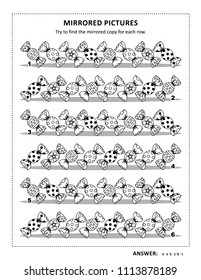 IQ training visual puzzle and coloring page with candies: Try to find mirrored copy for every row. Answer included.
