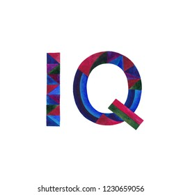 IQ watercolor hand painted sign illustration. Intelligence quotient design.