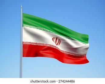 Iran 3d flag floating in the wind. 3d illustration.