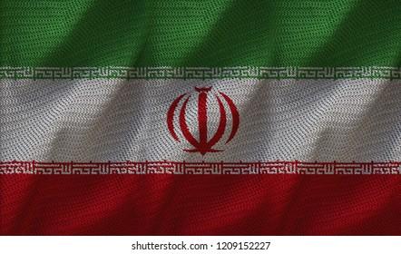Iran Flag 3D Illustration On The Fold Fabric. Iran Flag Painting On The Fabric. 3D Rendering.