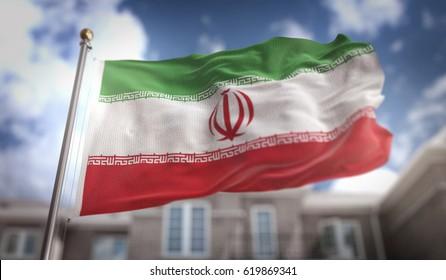 Iran Flag 3D Rendering on Blue Sky Building Background