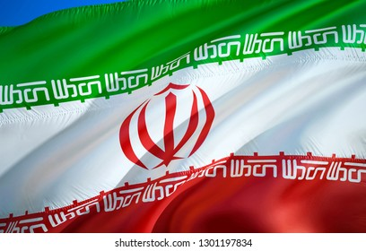 Iran flag. 3D Waving flag design. The national symbol of Iran, 3D rendering. National colors of Iran 3D Waving sign background design. 3D ribbon, wallpaper, pattern background