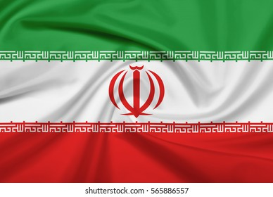 Iran flag with fabric texture. Flag of Iran. 3D illustration.