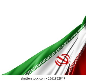 Iran flag of silk with copyspace for your text or images and white background -3D illustration