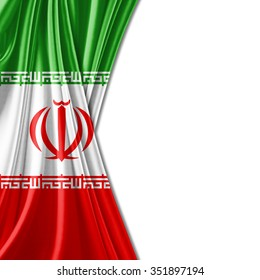 Iran  flag of silk with copyspace for your text or images and white background