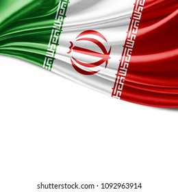 Iran flag of silk and white background-3D illustration